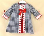 BABY GIRLS SPANISH BLUE TWEED RED SLOTTED RIBBON DRESS 18 36